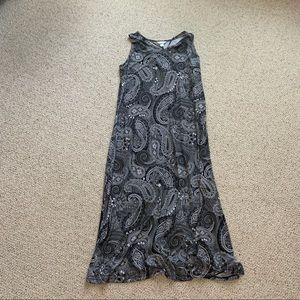 Black and White Paisley Print Maxi Dress